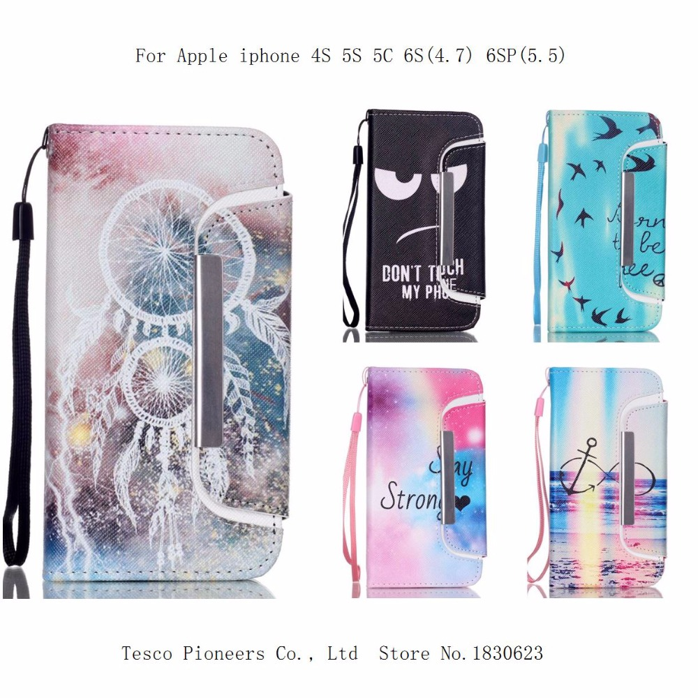 """2 in 1 Fashion Painted Cases for iPhone 4S 5S 5C 6S 6 Plus /6s plus 5.5"""" inch PU Leather Card Slot Holder Wallet Splitting case(China (Mainland))"""