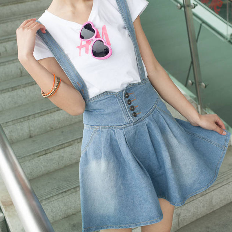 Size Overalls Skirts Womens Straps Saias Femininas Short Denim Skirt ...