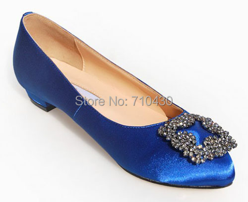 designer customized royal blue s flats wedding shoes