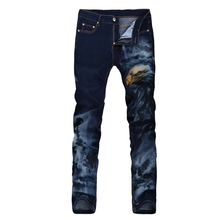 New Men Italy Fashion skinny jeans Eagle Color 3D Painting printed Stretcn Blue jeans W28-38 (#313)