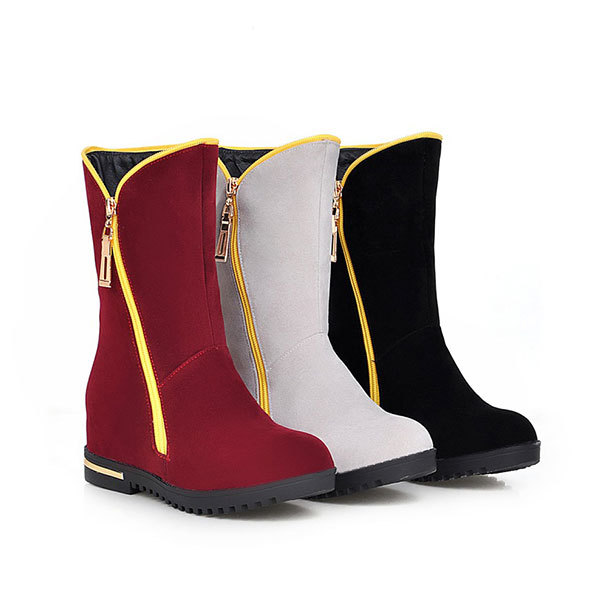 New 2015 Spring/Autumn casual round toe zipper boots comfortable and fashion half boots solid color wedge heeled boots D3337<br><br>Aliexpress