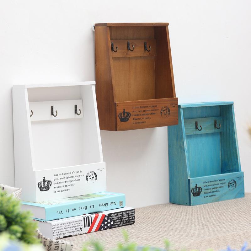 2017 Wood Storage Box Wooden Shelf Display Holder Wall Hanging Decoration Sundries Boxes House Pattern Storage Holders & Racks(China (Mainland))