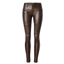 LIENZY American Apparel Sexy Women PU Leather Pants Coffee Color Multi-Zipper Motorcycle PU Women Pencil Trousers 2XL(China (Mainland))