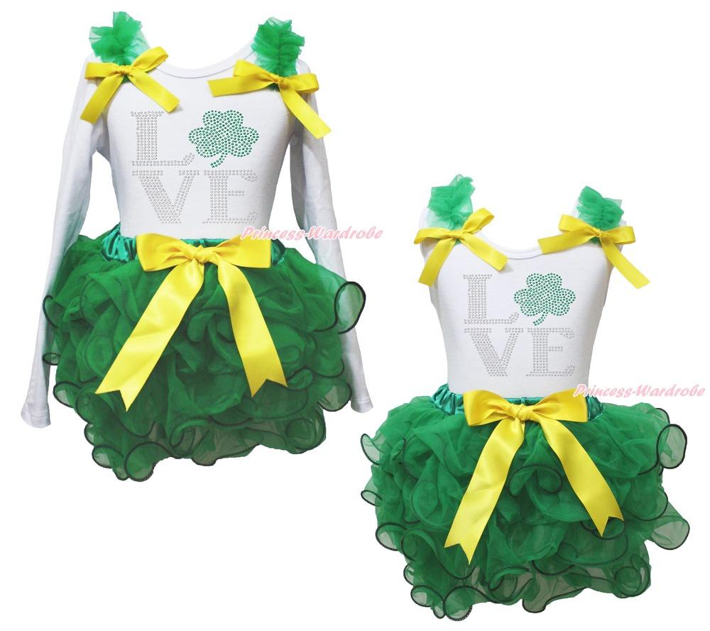 St Patrick LOVE Clover White Top Kelly Green Girls Petal Pettiskirt Outfit NB-8Y(Hong Kong)