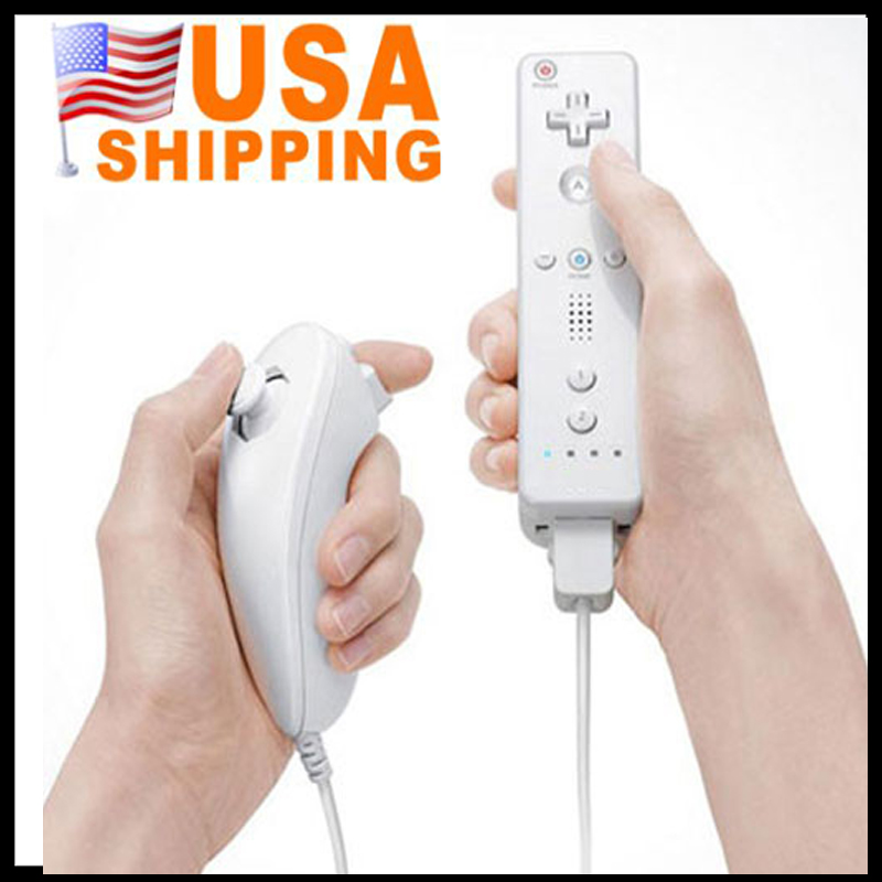 (US Stock To USA ) Free Shipping Game Handle for Wii Controller Combo + Wireless Remote Nunchuk Controller for Nintendo Wii(China (Mainland))
