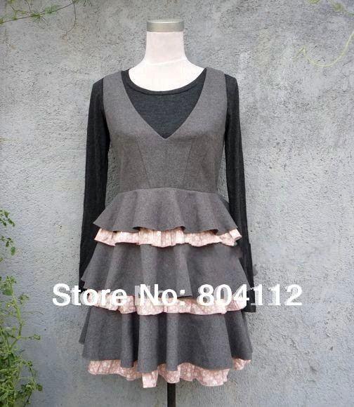Lady Fall Winter Dress Fashion Tiered Suspender Dress/Lady Dress Grey(China (Mainland))