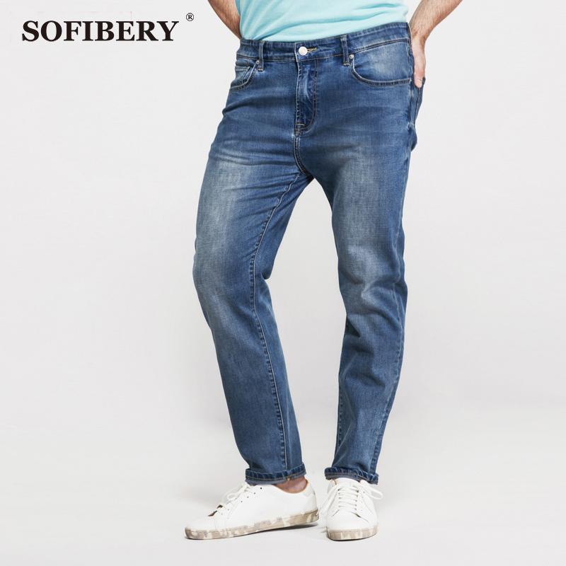Фотография SOFIBERY men jeans large yards high elastic stretch jeans Slim Slim jeans rough confident tough line large size 36 - 52 LP153007