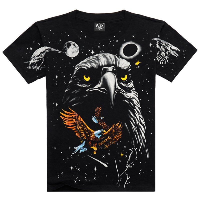 Drop Shipping autumn -summer Holiday Discount Metal Empire cotton printed 3D animal print men's t shirt Eagle t-shirt Big Size(China (Mainland))