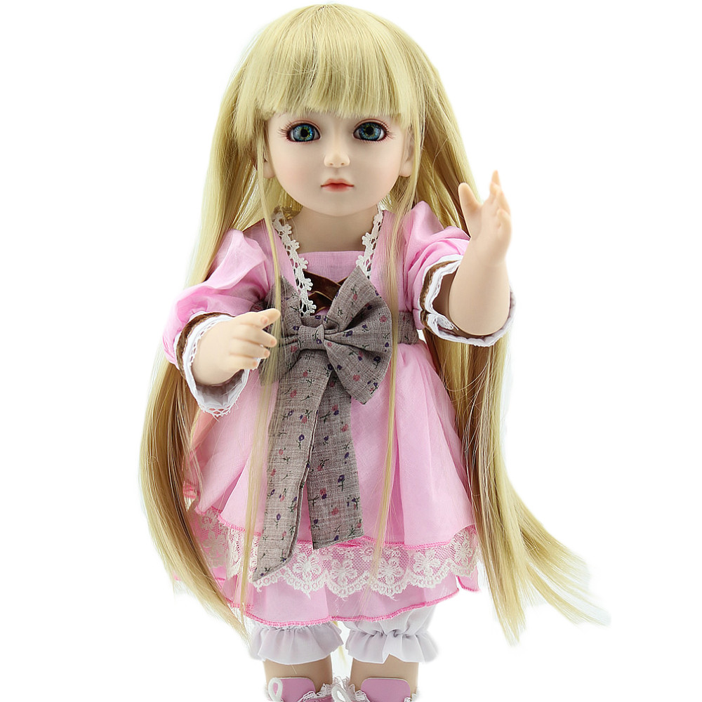 18inch Vinyl BJD/SD Doll Full Body Silicone Long Hair Living Girl Ball Jointed Dolly for Kids Playhouse Toy Gifts<br>