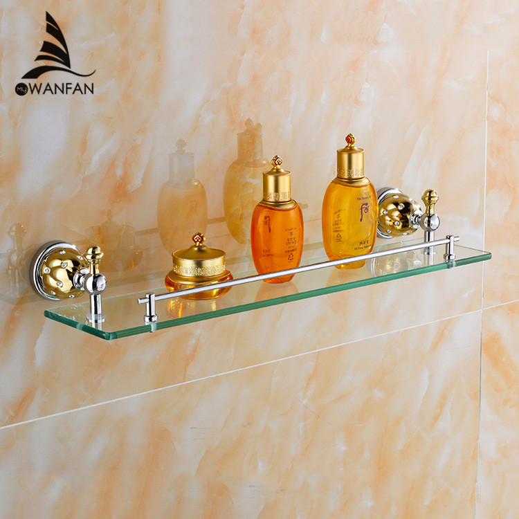 Free shipping bathroom shelf /Bathroom Accessories Solid Brass Chrome+Gold Finish With Tempered Glass,Single Glass Shelf  5413