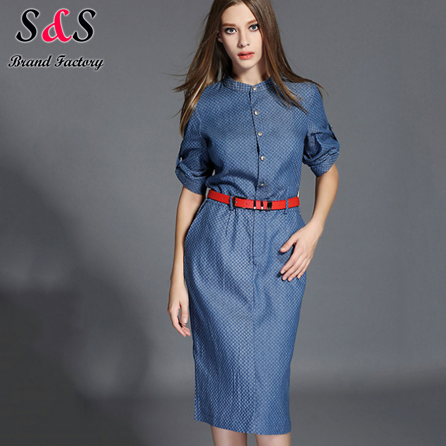New Spring Autumn Women Dress Casual Jeans Denim Maxi Dresses Vestidos De Festa Party Bodycon Dresses S-XL XL With Sashes ZX24
