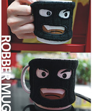 Personality maked man ceramic mug creative robber black milk tea coffee cup with lid drinkware gift