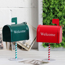 AIBEI-Zakka British Style Retro Manual Tin Mini Mailbox 1PC Creative Red Green Newspaper Letter Mail Post Box Home Decoration(China (Mainland))