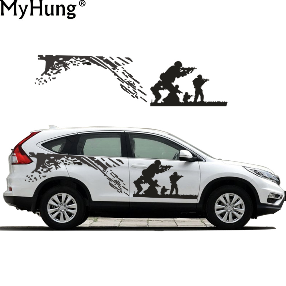 Car full body sticker design - New Car Styling Decal For Honda Cr V Cool Cs Army Battle Car Whole Body Sticker