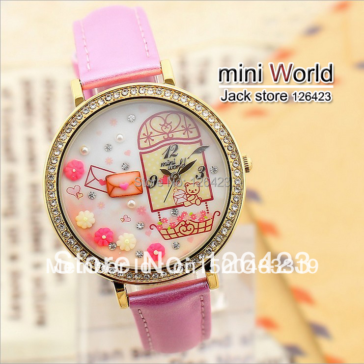 HOT sell044 Korean watch mini world rabbit table polymer clay watch cartoon lady children the hours of mini watches(China (Mainland))