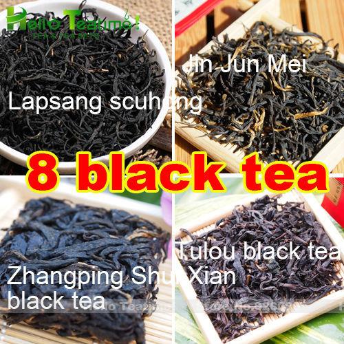 [HT!][Taste]8 different flavored china black tea dian hong+lapsang souchong+jinjunmei+zhangping shui xian red tea+tulou hong cha(China (Mainland))
