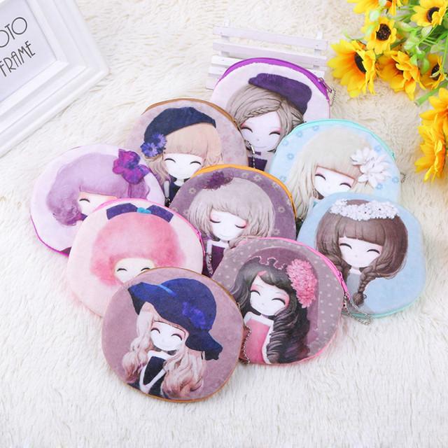 Популярные маленький кошелек милые девушки избранные печать картонной красотки молния ...