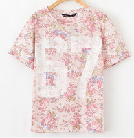 Abiti Donna 2015 Summer New Womens Graphic Tees Fashion Slim Print Number 67 Short Sleeve Tshirt Chemise Femme WB15616