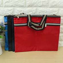 Kicute A4 Big Capacity Filing Document Bag Business Storage Bag Stationery File Folder Tote Meeting Side Zipper Pockets(China (Mainland))
