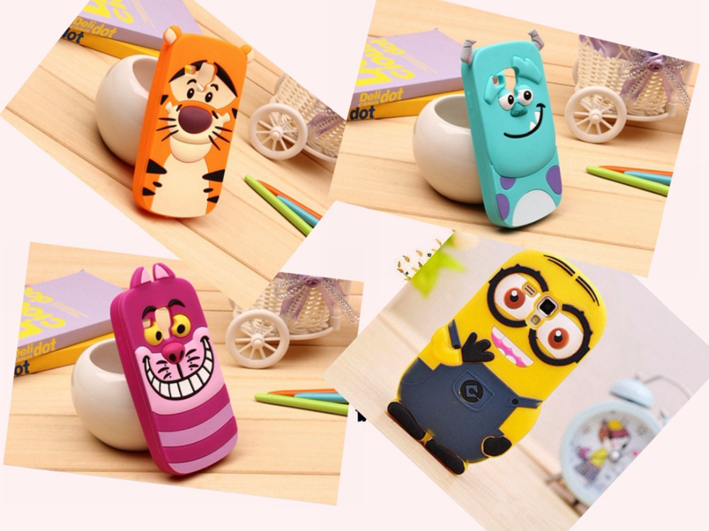 Top Quality Cases For Samsung Galaxy S Duos S7562 S7560 S7582 S7580 Soft Silicone Phone Case Cartoon 3D Cute Minions Back Cover(China (Mainland))