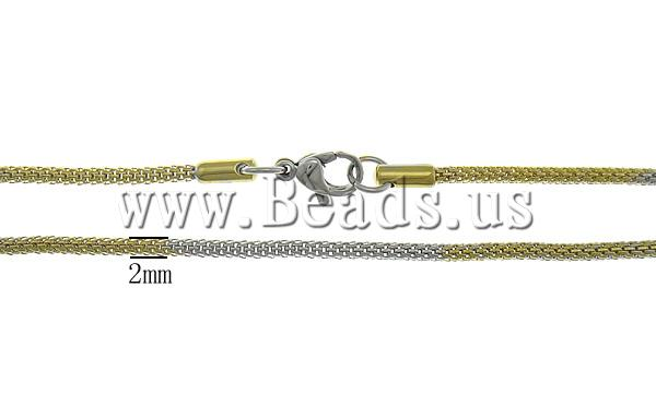 Free shipping!!!Necklace Chain,for Jewelry, Stainless Steel, stainless steel lobster clasp, gold color plated, two-tone, 2mm