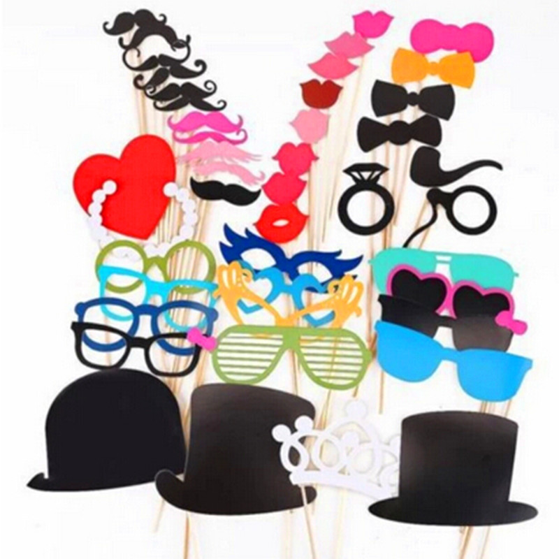 Free Shipping 1Set of 44pcs Photo Booth Props Glasses Mustache Lip On A Stick Wedding Birthday Party Fun Favor(China (Mainland))