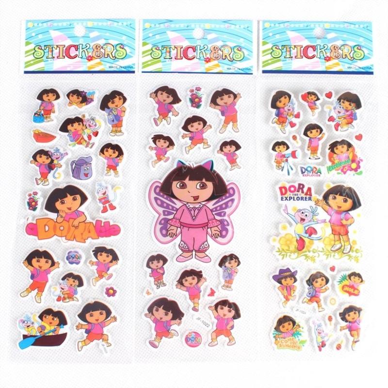 % 10 pcs / lot .(7 * 17 cm) Dora Stickers Party Supplies Dora the Explorer kids Cute Cartoon wall Stickers Puffy Bubble Toys(China (Mainland))