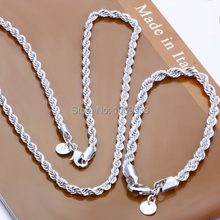 wholesale Silver jewelry,  silver plated rope chains necklace +bracelet jewelry set, Free Shipping(China (Mainland))