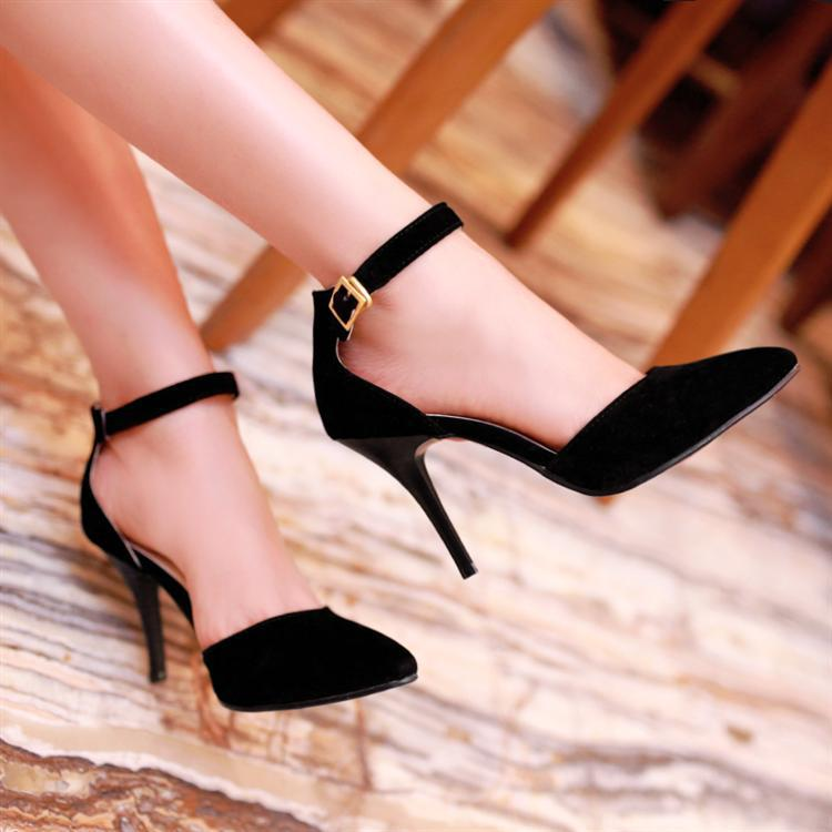 womens black ankle strap heels shoes