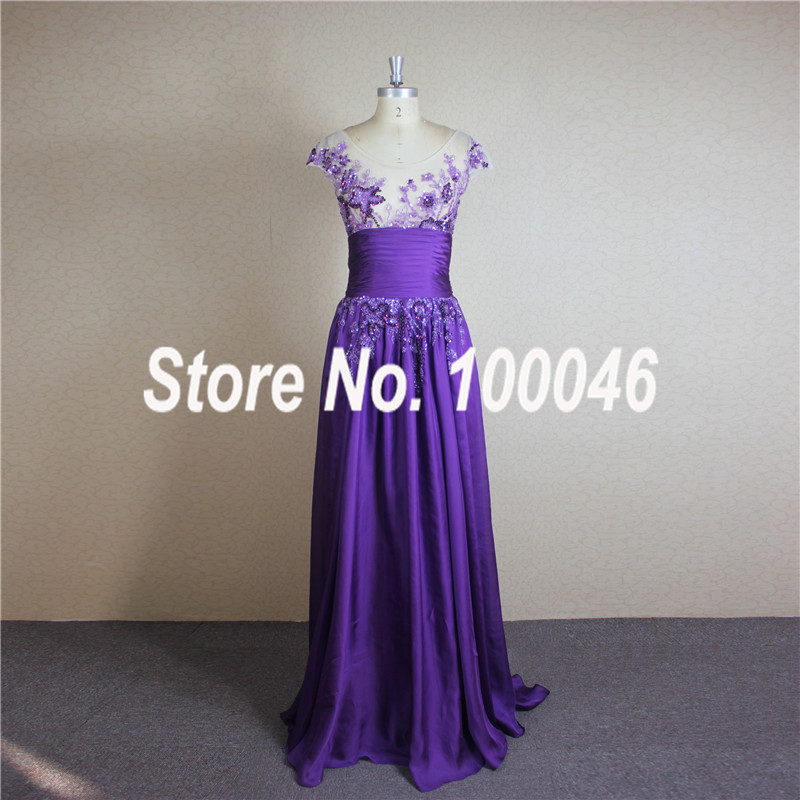 CN324 Real Picture Evening Dress Delicated Beaded Scoop Neck Cap Sleeve Purple Chiffon Gown - ED Gowns Store store