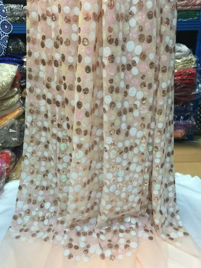 French Net Lace Fabric 2015 Latest african guipure lace fabric mesh tulle fabric gold +pink embroidery SYJ1-10(China (Mainland))