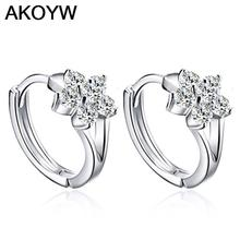 Silver plated snowflake earrings studs fashion male and female models cute vintage jewelry crystal jewelry(China (Mainland))