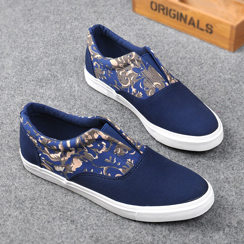 new arrival 2015 Spring men Sneakers Canvas shoes low style footwear Flat Casual For Men Print Black Blue Big size 39-43 X0502(China (Mainland))