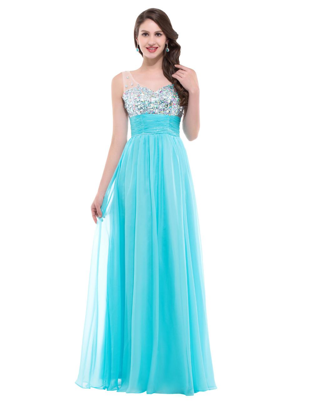Buy floor length blue white bridesmaid for Blue long dress wedding