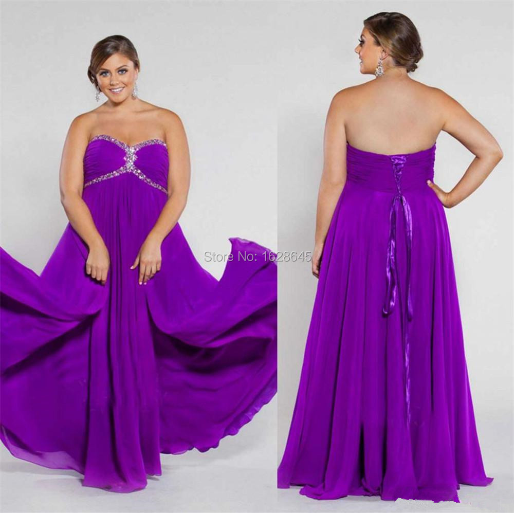Purple Crystal Show Thin Plus Size Strapless Backless Evening Dresses 2015A-Line Chiffon Sweetheart Floor-Length Celebrity Gowns(China (Mainland))