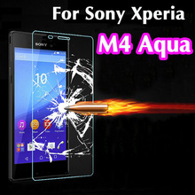 M4 0.26mm 9H 2.5D Retail Box Explosion-proof Tempered Glass For Sony Xperia M4 Aqua Premium Screen Anti Shatter Protector Film(China (Mainland))