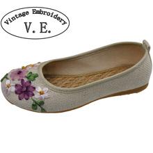 Vintage Embroidery Women Flats Flower Slip On Cotton Fabric Linen Comfortable Old Peking Ballerina Flat Shoes Sapato Feminino(China (Mainland))