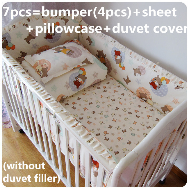 Promotion! 6/7PCS Bedding Set Baby Toddler Bed Crib Bumper Set Crib Sheet Bumper ,120*60/120*70cm<br><br>Aliexpress