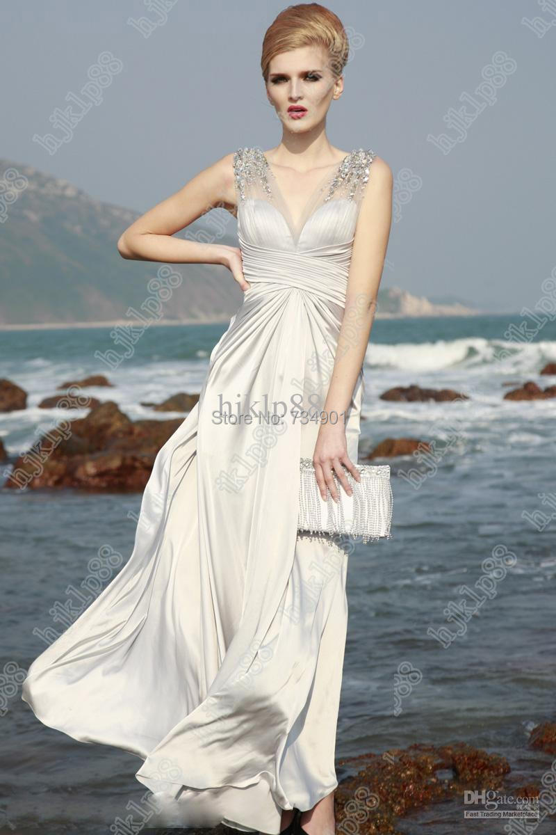 Custom made!2015 Elegance Chiffon A-Line Ankle-Length Tank Natural Crystal Sleeveless V-Neck Evening dresses - DENIA'S BRIDAL store