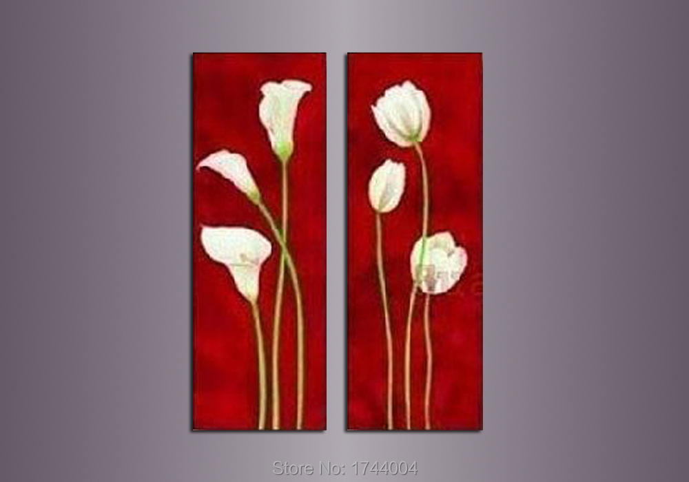 100% Hand Painted 2 Piece Set Decoration Narcissus Floewr Oil Painting On Canvas Modern Home Wall Picture Wall For Living Room(China (Mainland))