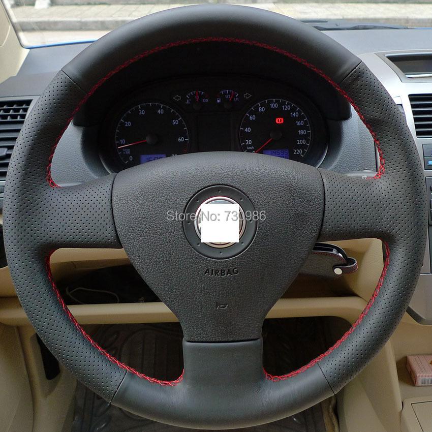 XuJi Black Genuine Leather Steering Wheel Cover for Volkswagen VW Golf 5 Mk5 Old Polo Sagitar Lavida Jetta 5 Tiguan(China (Mainland))