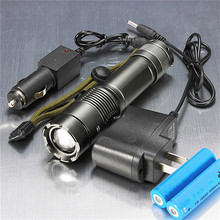2000LM CREE XM-L T6 LED Zoomable Rechargeable Flashlight Torch + 2X 18650 Battery + AC/DC Charger(China (Mainland))