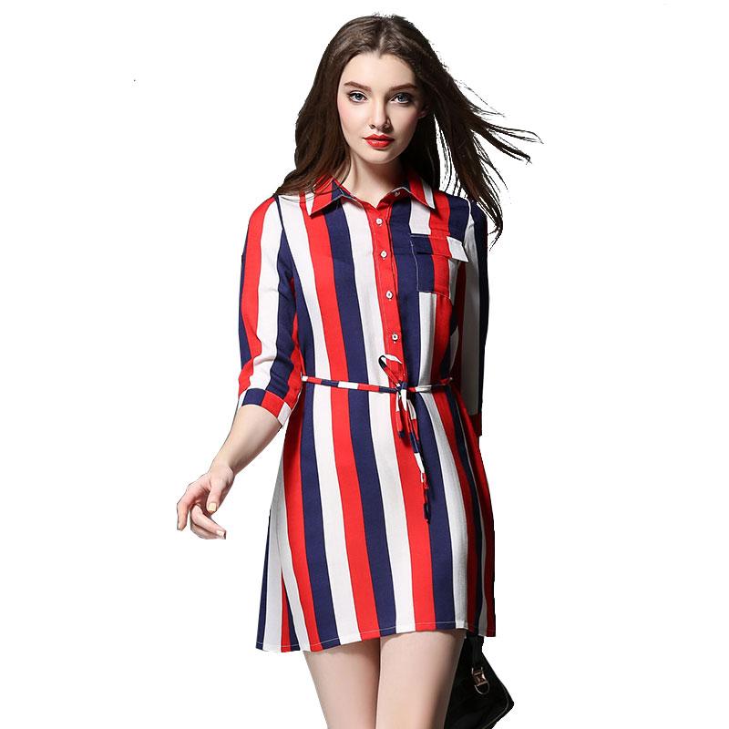 Women Plus Size Stripe Dresses 2016 Spring Summer New Europe Style Mini Shirt Dress Three Quarter Sleeve Sim Vestidos 2000Одежда и ак�е��уары<br><br><br>Aliexpress