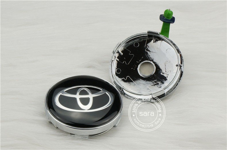 car tuning Fast shipping 4pcs 60mm TOYOTA Black Wheels Center Cap Good Quality Wheel Decal Sticker