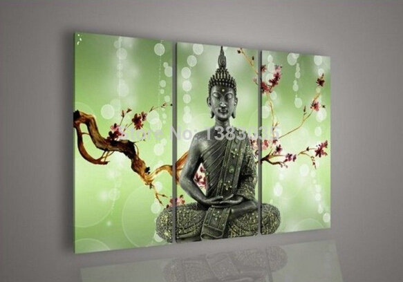 Hand Painted Abstract Landscape Red Flower Buddha