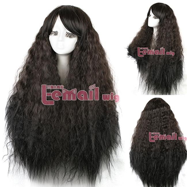 Livraison gratuite 90 cm Rhapsody Halloween perruque pour les femmes Lady longue perruque brun foncé Cosplay perruque(China (Mainland))