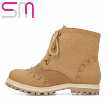 Size 32-52 Fashion Patch Cutouts Cross tie Ankle Boots 2015 Brand Flat Heels Short Boots Fall Winter Boots Women Shoes Woman(China (Mainland))
