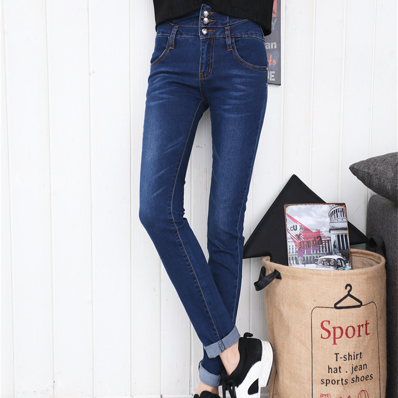 2016 New Fashion Jeans Womens Slim High Waist Elastic Skinny Denim Long Pencil Pants Woman Jeans Camisa Feminina Color Blue(China (Mainland))