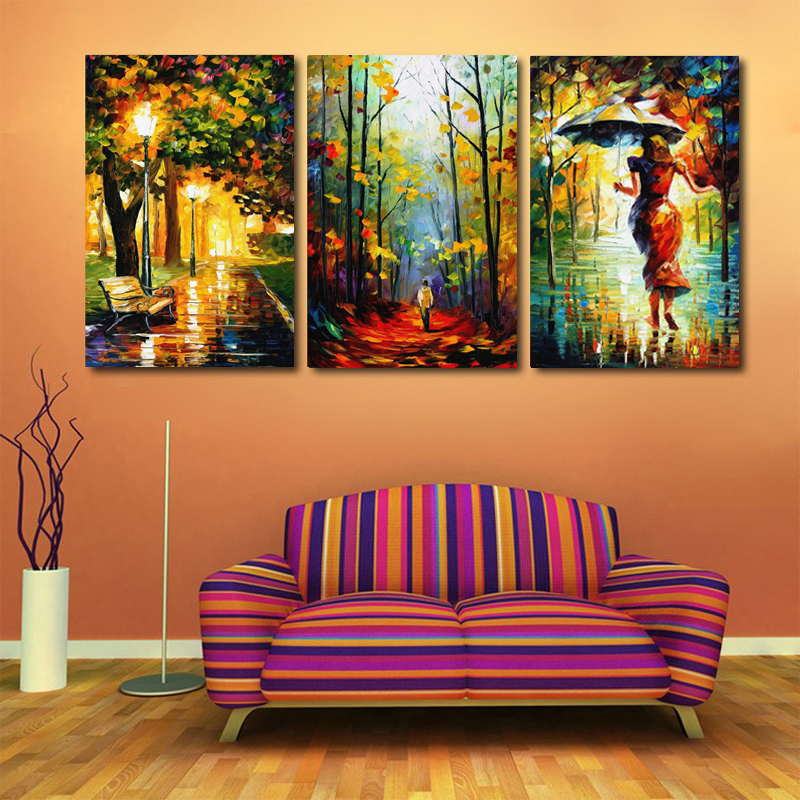 Modern Home Decor Canvas Art Abstract Oil Painting On Canvas 3 Piece Street Light Tree Figure
