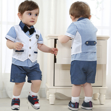gentleman Children's clothing sets summer Baby Boy clothing suit set kids handsome cotton shirts/sweatshirt+vest+bow tie+shorts(China (Mainland))